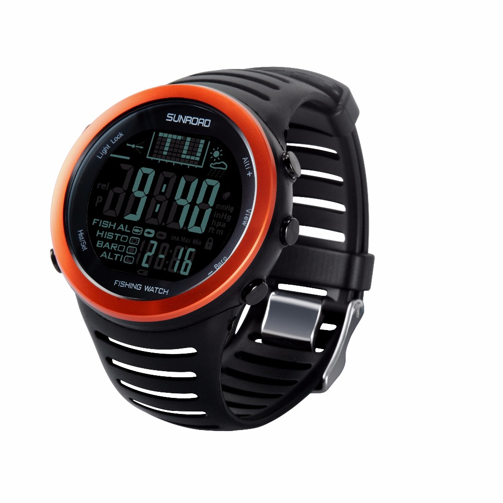 SUNROAD FR720 Men Digital Sports  Outdoor Watch Compass Fishing Weather Altimeter Barometer Thermometer Altitude Men Wristwatch multifunctional handheld workstations altitude table compass altitude meter barometer outdoor altimeter fishing barometer
