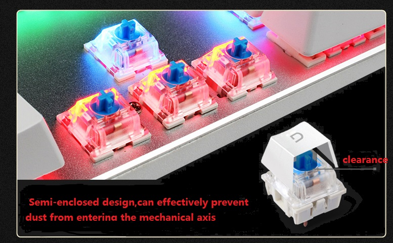 Wersja METOO ZERO X08B Klawiatura mechaniczna 104 klawisze Niebieski - Peryferia komputerowe - Zdjęcie 3