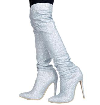 Hot Selling Winter Brand Woman Sliver Sequined Cloth Bling Bling Crystal Diamond Pointed Toe Over The Knee Thigh Long Boots Lady
