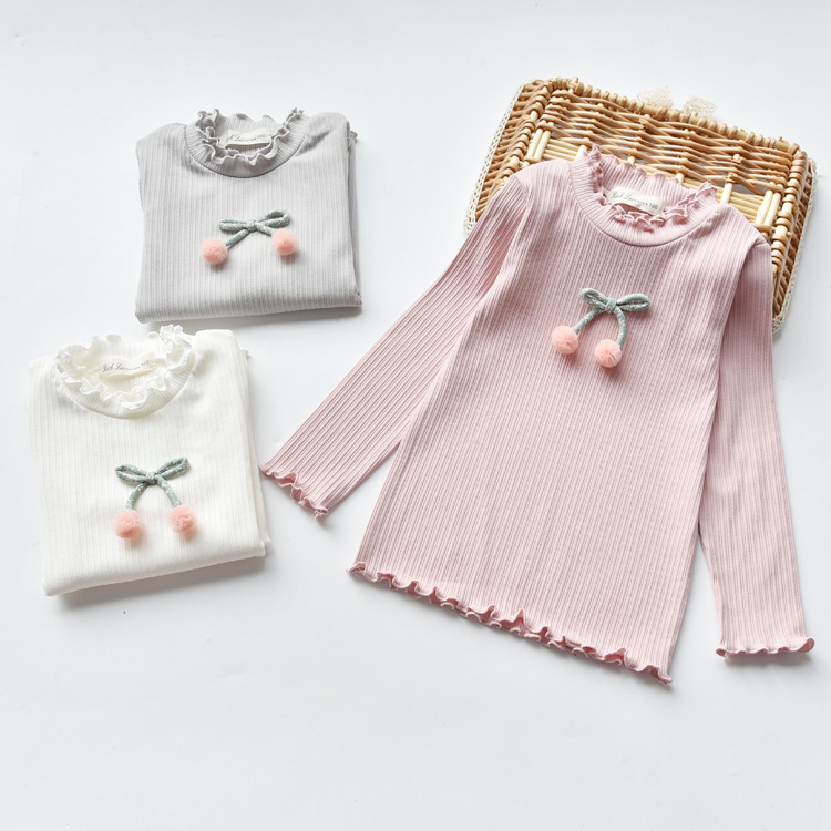 2018 Spring Baby Girls Tshirt Bow Wool Ball Shirt Cotton Tops Ruffles Stand Collar Pullover 3 4 5 6 7 8Years Childrens Clothing
