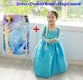 Novos trajes anos para crianças vestido elbise vestidos infantis roupas da menina da criança natal vestido elza de festa disfraz infantil