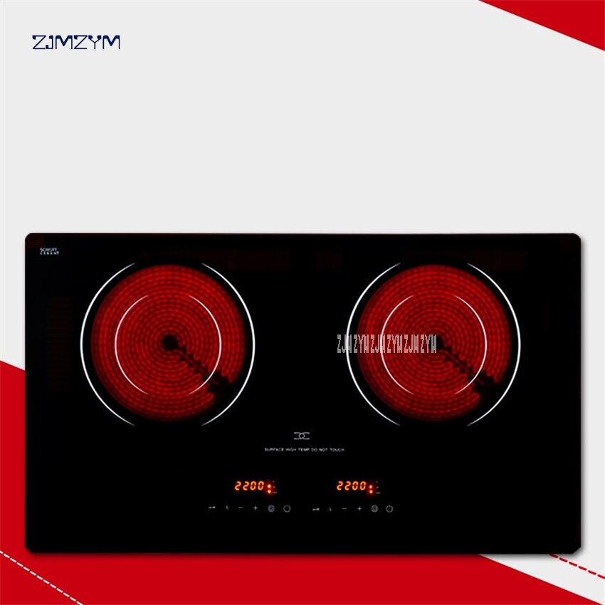 MD H2002 Electric ceramic cooker 2200W+2200W Embedded Ceramic glass hob Electric Ceramic furnace No radiation Induction cooker|Induction Cookers|Home Appliances - title=