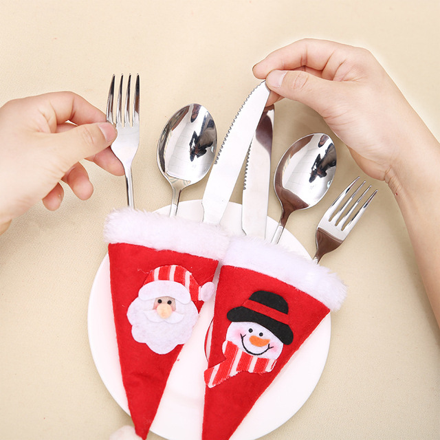 6pcslot santa claus snowman christmas silverware holders fork knife spoon pocket bags table ornament - Christmas Silverware Holders