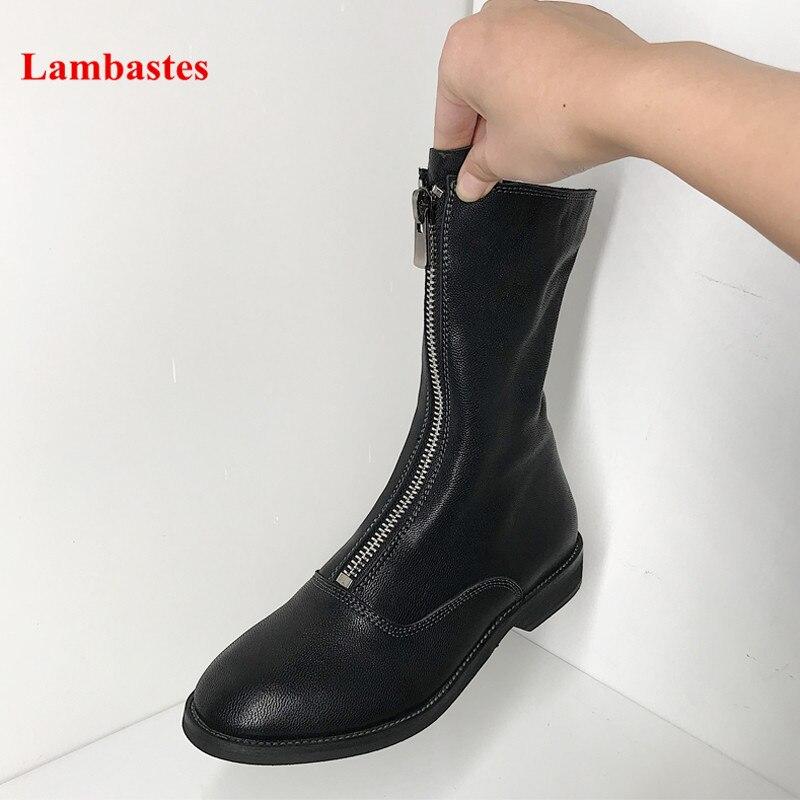 Autumn Shoes Women Round Toe Black Front Zipper Designer Ankle High Women Boots Fashion Retro Casual Cozy Martin Botas Femme цена 2017