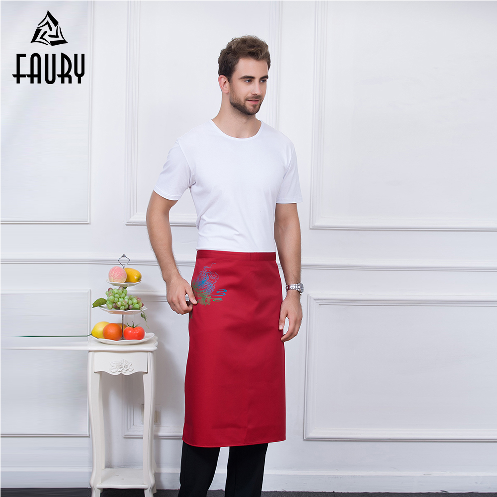 Unisex Dragon Prints Food Service Kitchen Work Restaurant Home Cooking Cleaning Coffee Shop Wear Aprons Waiter Hotel Uniforms