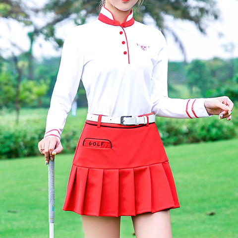 Pgm Golf Apparel Women Pleated Skirt+ Button Collar Shirts Suit Ladies Tennis Skirts Long Sleeve Shirts Golf Clothing D0493 Lahore