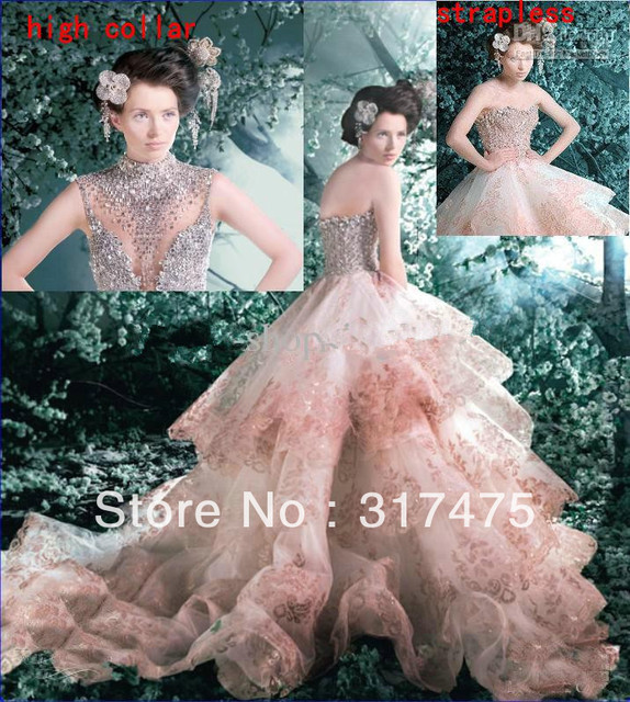 Michael Cinco Designer 2017 Collection Luxury High Collar Crystals Pink Wedding Dresses Lace Bridal Gowns