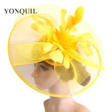 Żółty z kwiatami i piórami Fascinator ślubny klips do włosów i opaski zimowe Party royal ascot Bridal Church show Hat świetna jakość