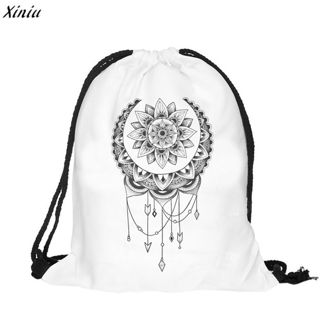 8c31e2255ace 2018 new fashion dreamcatcher patterns Women Backpack 3D printing travel  softback drawstring bag Mochila Feminina Sack Beach Bag