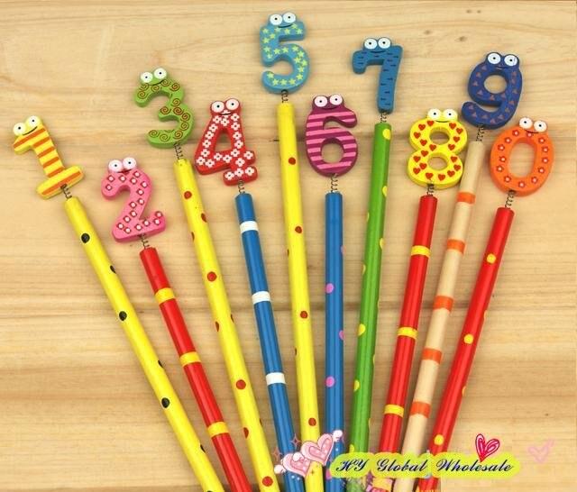 50 pçs lote novo número bonito lápis