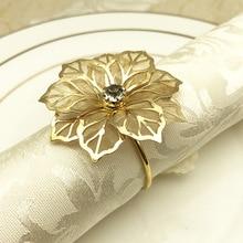 12PCS metal napkin ring golden flower-shaped buckle