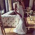 Evening Dress New Arrival Women Arabic Evening Gowns Mermaid Style One Shoulder Satin Floor Length Long White Evening Dress