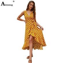 цена Boho polka dot V neck women dress Bohemia sleeveless split elegant ruffle lace up sexy dress summer maxi beach dresses vestidos