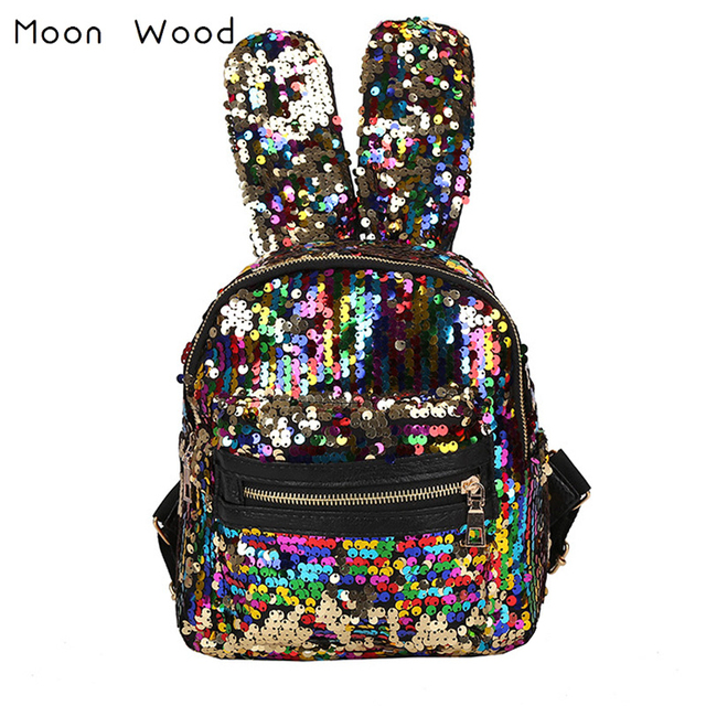 f6f80ed92c7 US $13.64 35% OFF|Moon Wood Newest Bling Sequins Backpack Cute Big Rabbit  Ears Double Shoulder Bag Women Mini Backpack Children Girls Travel Bag -in  ...