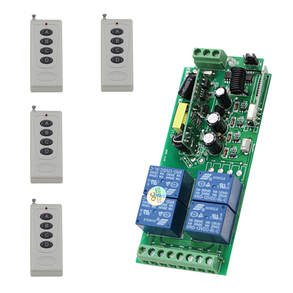 Smart Home AC85V 110V 220V 250V 4CH 10A Relay Wireless Remote Control Switch Wireless Switch Receiver+4pcs Transmitters Hot Sale