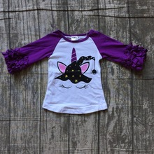 7ca7445ea children Halloween raglans girls pumpkin unicorn raglans baby girls orange  purple ruffle sleeve unicorn raglans top