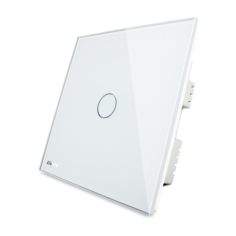 Livolo, touch switch, gold glass panel, VL-C301-63, 110 ~ 250 1-channel, UK standard, LED indicator