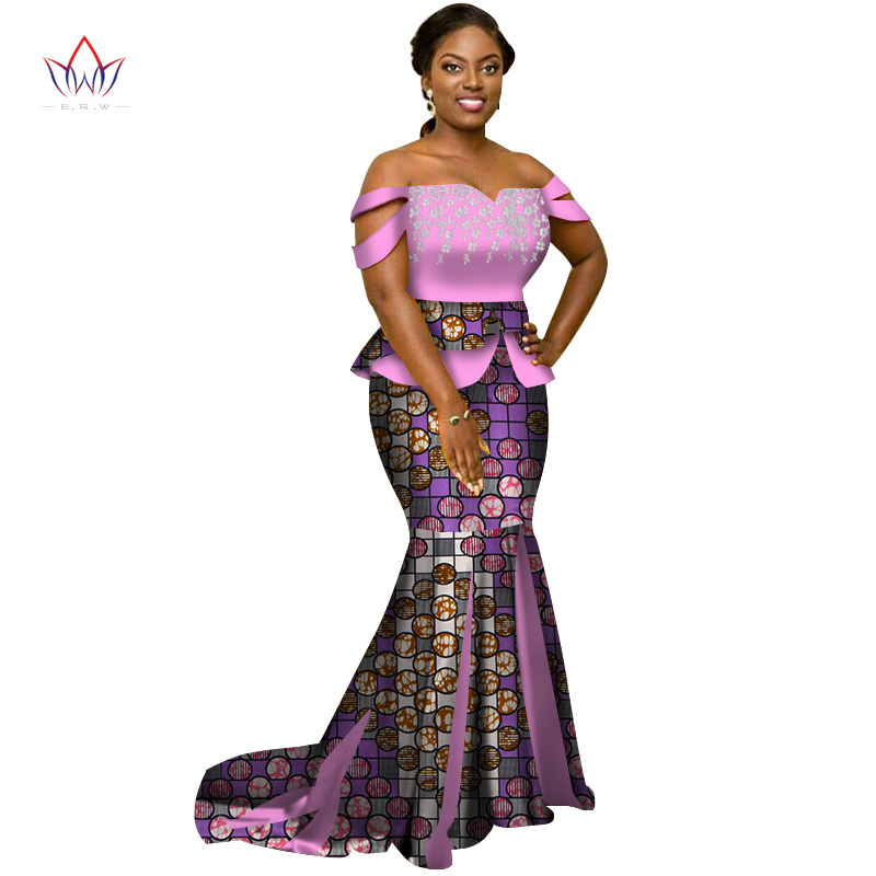 2019 Africa Style Two Piece Skirt Set Dashiki Elegant Africa Clothing Sexy Crop Top and Skirt Women Sets for Wedding WY3226
