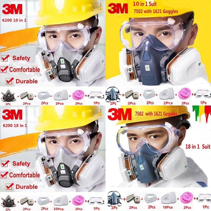 3 M 6200 7502 Meia Face Respirador Terno Indústria Química de Tinta Spray À Prova de Poeira Máscara de Gás Com 1621AF Anti-nevoeiro Óculos
