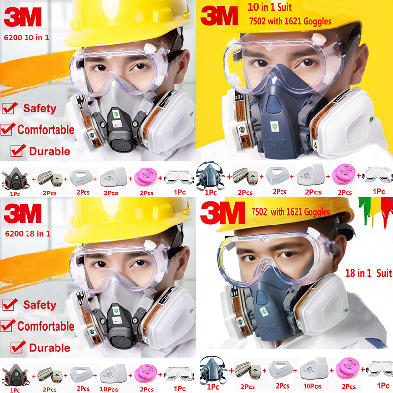 3M 6200 7502 Half Face Respirator Suit Industry Paint Spray Chemcial Dust Proof Gas Mask With 1621AF Anti-fog Goggles 15 in 1 suit painting spraying 3m 6200 half face gas mask respirator chemcial industry anti dust work respirator mask