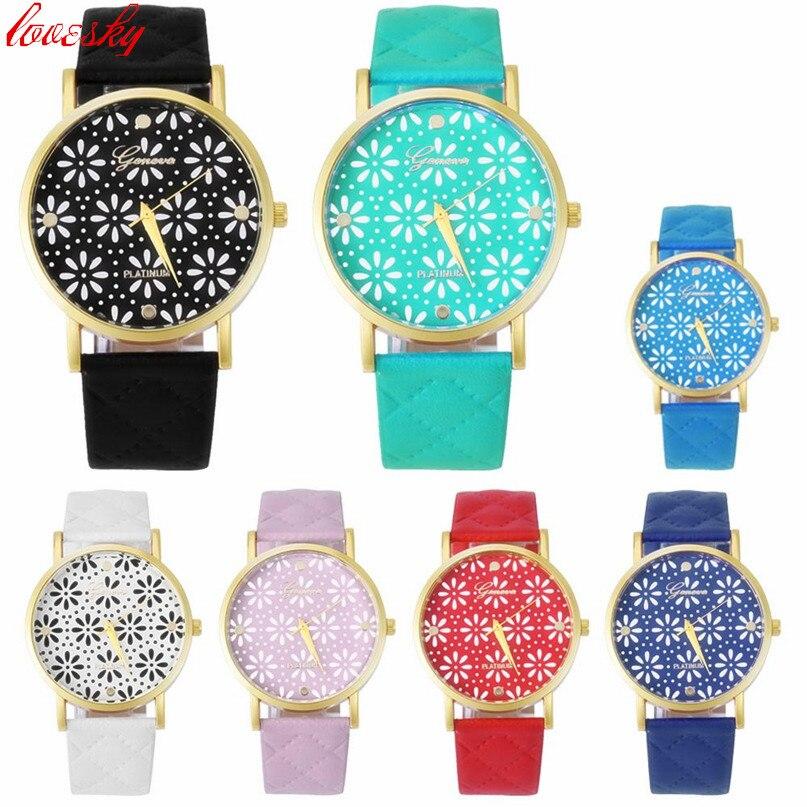2016 Casualwatch Store  Relojes Mujer 2017  Fashion Women Casual Geneva Roman Leather Band Analog Quartz Wrist Watch Fashion Brand Watch Female  Clock