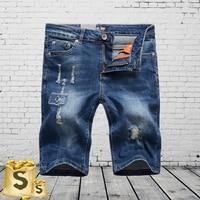 Slim Fit Denim Overalls Elastische Shorts Mannen Hot Koop Zomer Strand Knielengte mannen Patchwork Shorts Jeans Uomo 29-38 C1002