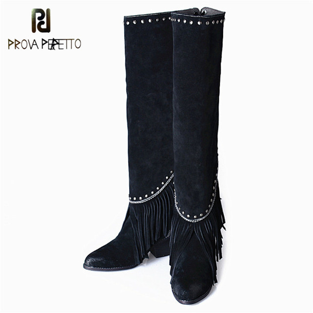 Prova Perfetto Trend Fashion Brand Women High Quality Suede Leather Pointed Toe Fringe Bling Special Designer Knee-high Boots