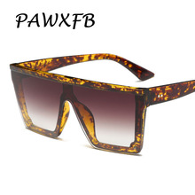 PAWXFB New High quality Oversized Square Leopard Sunglasses Women Men Mirror Sun Glasses Luxury Eyeglasses Oculos 400UV Shades
