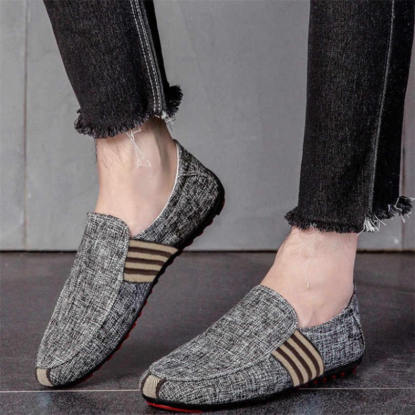 LIN KRAL Marka Moda Yaz Tarzı yumuşak tabanlı mokasen Erkekler Açık Loafer'lar Nefes Rahat Tembel Ayakkabı Erkekler Flats sürüş ayakkabısı