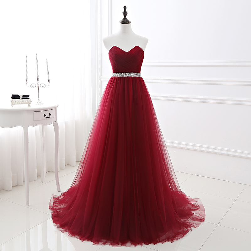 2019 Simple Wine Red Long Tulle Prom Dress A Line V Neckline Sequin Beaded Bridal Party Dresses