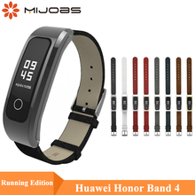 Mijobs Leather PU Wrist Strap For Huawei Honor Band 4 Runnning Version Smart Wristband Bracelet Running
