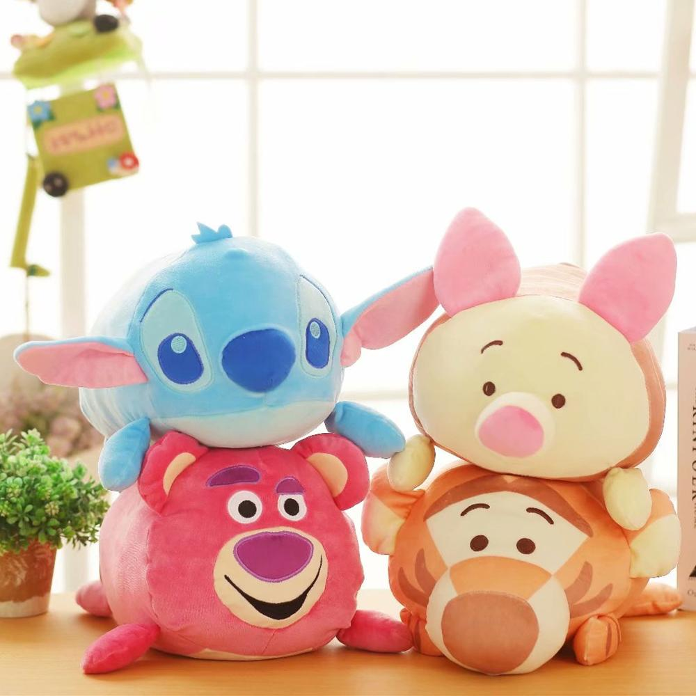1pcs 32cm Cute Lying Sleeping Stitch Piglet Tigger Dumbo Marie Cat Plush Toy Stuffed Animals Christmas Gift High Quality