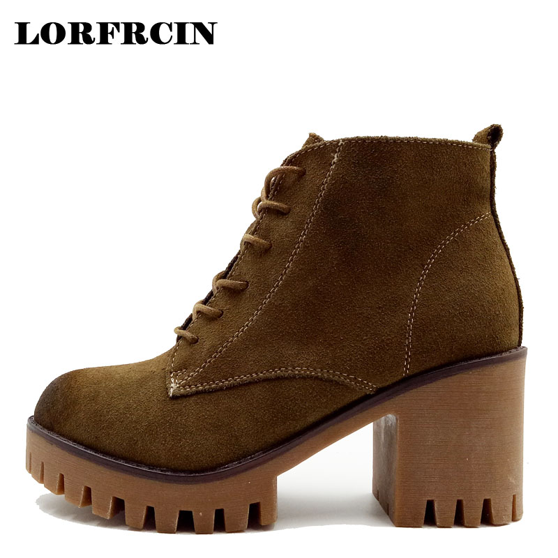 LORFRCIN High Heels Boots Woman Genuine Leather Thich Heel Martin Boots Black Lace Up Platform Ankle Boots Women Shoes Pumps plus size platform high heels boots lace up chunky heel ankle boots for women new fashion booties martin shoes woman black
