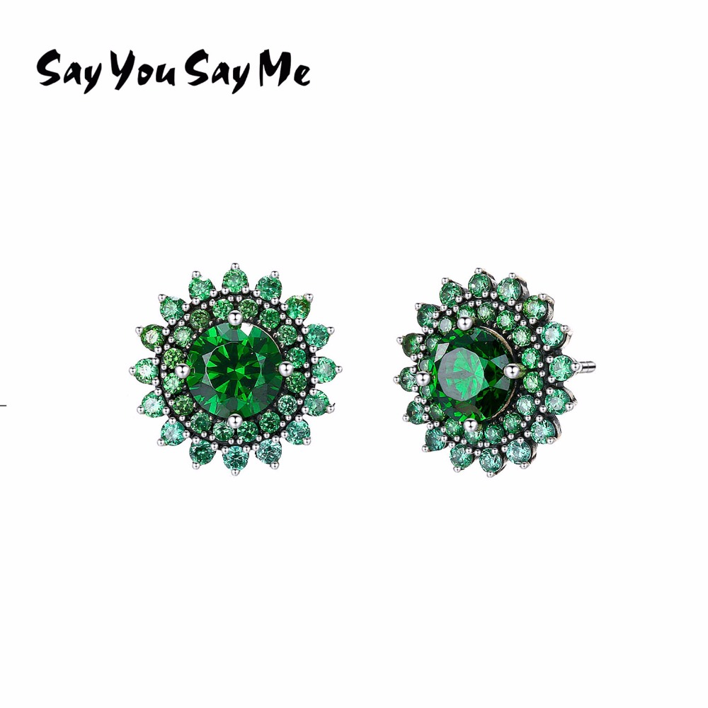 925 Sterling Shining Green Zircon Earring Wholesale Fashion Flower Glittering Earring Best Gifts 2018 New Arrival Say You Say Me