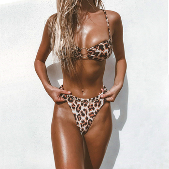 OMKAGI Swimwear Women Micro Bikini 2020 Sexy Push Up Swimsuit  Leopard Bikini Set Bathing Suit Swimming Maillot de Bain Femme
