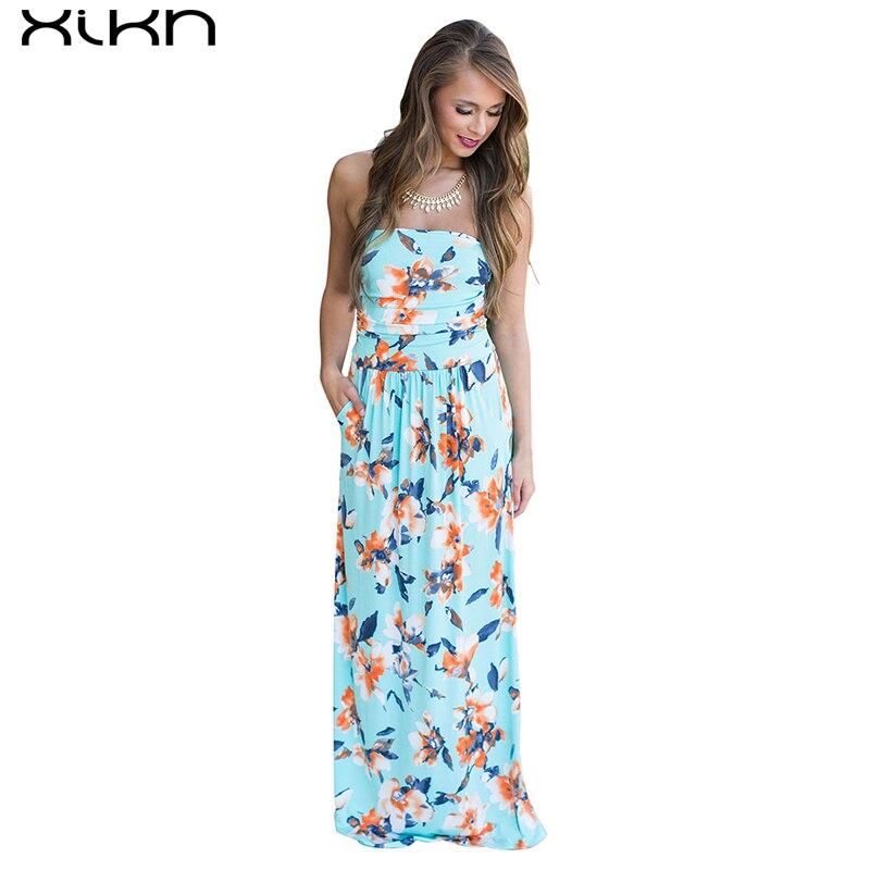 XIKN Floral Print Beach Long Dress Strapless Off Shoulder Summer Dress Loose Bohemian Desses Floor-Length Women Clothing AA135