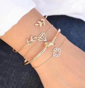 4pcs/Set Fashion Bohemia Leaf Knot Hand Cuff Link Chain Charm Bracelet Bangle for Women Gold Bracelets Femme Jewelry