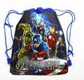 12 Unids The Avengers Hulk Thor Capitán América Cartoon Kids Morral del Lazo de Escuela Viajan Bolsos de Fiesta de Regalo de Compras 34*27 CM