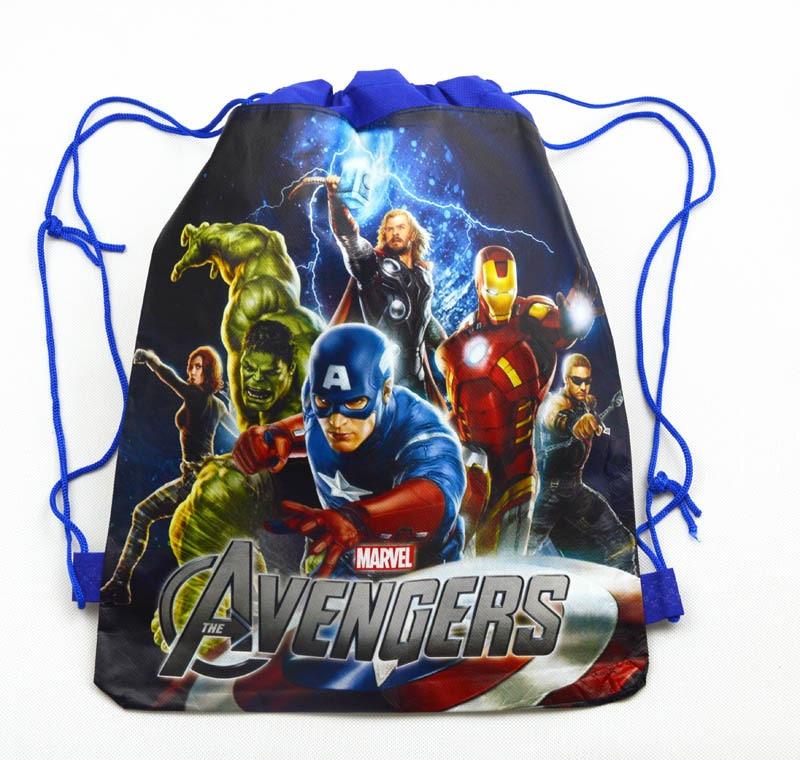 12Pcs Hulk Thor Cartoon Kids Drawstring Backpack Shopping School Traveling Party Bags Gift 34*27CM