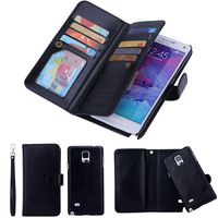 2 In 1 Magnetic Wallet Pu Leather Cases For Samsung Galaxy Note 4 N9100 With 9