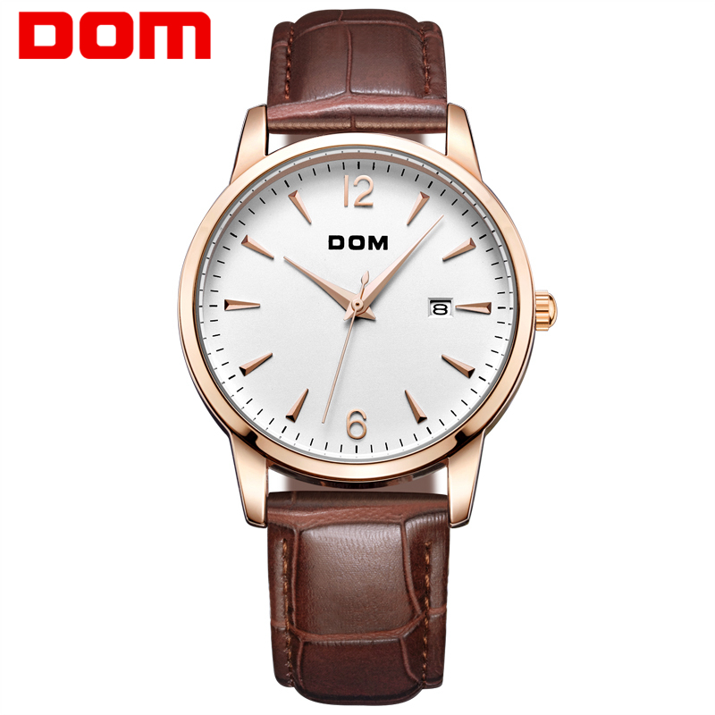 ФОТО DOM Man watches luxury brand waterproof style quartz leather gold nurse business watch relojes mujer reloj