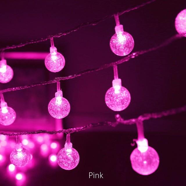 purple solar energy led light ball bulb string christmas tree birth holiday light string interior decoration
