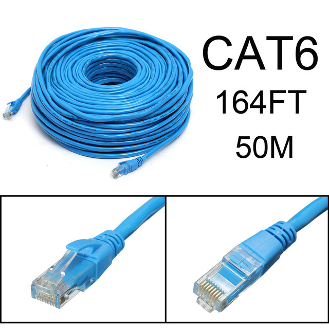 Blue 50M/164Feet RJ45 CAT6 CAT6E Ethernet Internet LAN Wire Network ...