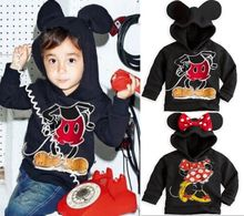 2016 New Lovely Kids Clothing Mouse Cotton Hooded Jacket Sweater Hoodies wn