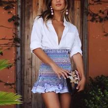 12371f174ba057 EFINNY Fashion Women High Waist Skirts Colorful Striped Ruffles Stretch  Slim Pencil Skirts