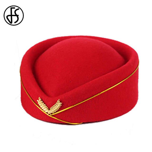FS profesionales señoras lana elegante rojo azul negro sombrero sombreros  azafata sombrero traje de etiqueta de e5d9799f99c