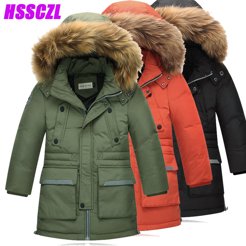 HSSCZL boys down coat winter thicken boy jackets big natural fur collchildren jacket outerwear overcoat long detachable coats 2017 winter new clothes to overcome the coat of women in the long reed rabbit hair fur fur coat fox raccoon fur collar