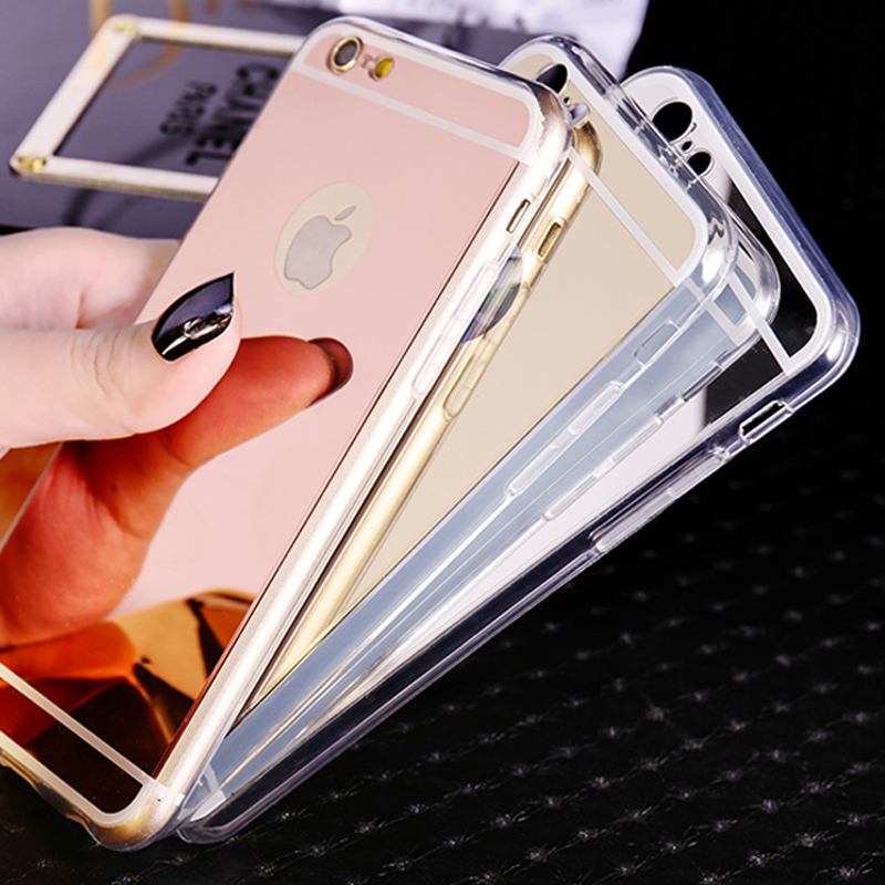 Soft Mirror Phone Case For Coque iPhone 7 7plus 5SE 5 6 6s plus Ultra Thin Soft Electroplating Make UP Mirror Back Cover Fundas