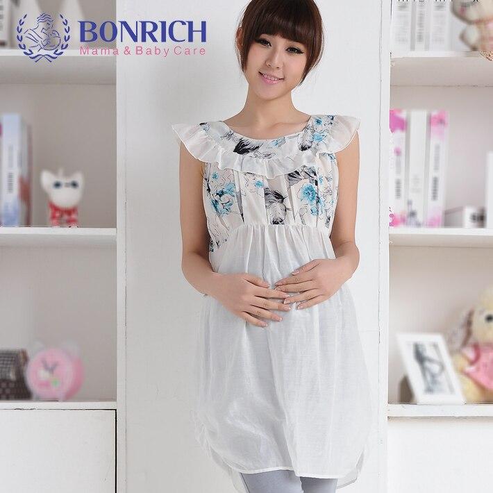 ФОТО BONRICH 2017 Summer Silk  Cotton Patchwork dress Flora Printing Dress Sleeveless maternity dresses BC32130