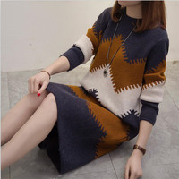 Women Autumn Casual Dress Long Sleeves Oversized Patchwork Geometric Print Sweater Knee length Dresses Elegant Knitwears